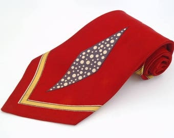 Vintage 1940s Wide Red Tie with Yellow Chevrons and Blue Diamond Swing Era Atomic