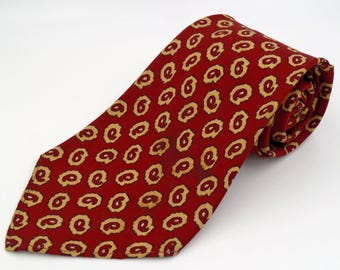 Vintage 1950s Brown Swing Era British Twill Tie with Red Neats