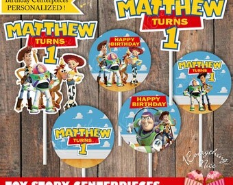 Toy Story Theme Happy Birthday Centerpiece Circles Decorations Personalized