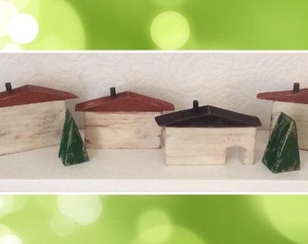 Rustic Folk Art Reclaimed Wood Houses and Trees