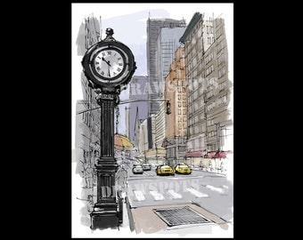 Street clock on 5th Avenue handmade sketch of New York. Original Handmade drawing Art Print,wall print for office or men's cave