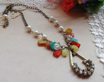 """Romantic Jewelry, Assemblage Necklace, Pearls and Crystals, Czech Glass Necklace, Vintage Necklace *HALEIGH"""""""