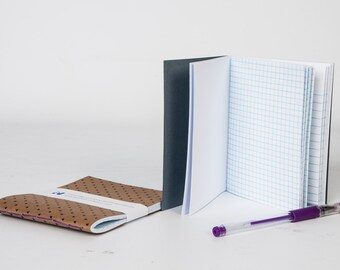 Handmade Notebooks with GelPen and paperclips- Graph paper, travel journal, sketchbook, Blank book, pocket size- colorful