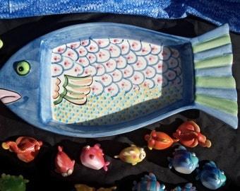 Fish Appetizer Platter, Ceramic Fish Dish,Fish Figurines, Fish Statues, Tiny Fish, Glass Fish.Collectble Fish