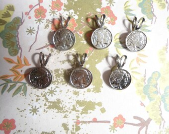 6 Silverplated 10mm Buffalo Nickel Coin Pendants
