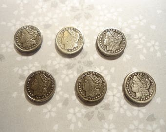 6 SSilverplated 10mm Morgan Dollar Coin Charms Findings Novelties