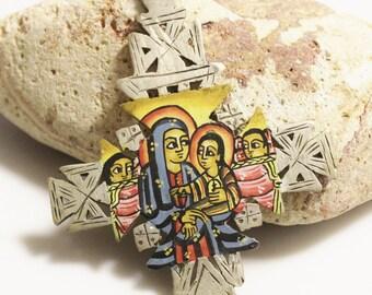 Ethiopian Jesus Icon Pendant, Coptic Cross, African Jewelry Supplies (AD44)