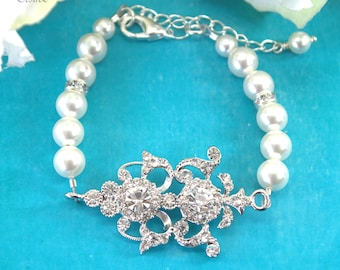 Pearl Bracelet Rhinestone Bridal Bracelet Crystal Bracelet Wedding Bracelet Bridesmaid Bridal Jewelry Vintage inspired Jewelry ELEANOR