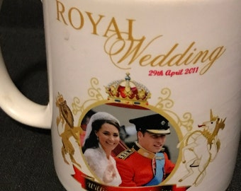 Royal Wedding Coffee Cup Collectible 1970's Vintage Cup 1971 Royal Wedding Prince William and Cathrine