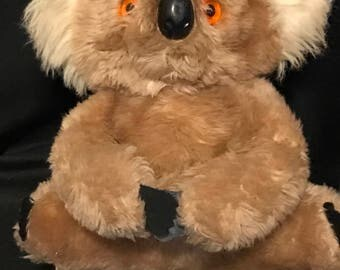 Vintage Koala Bear Vintage Plush Stuffed Animal Interpur Made in Korea Glass Eyes Velcro Hands SALE PRICE was 25.00 now 14.99
