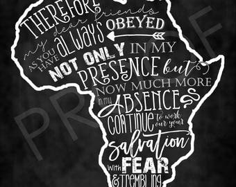 Scripture Art - Philippians 2:12 ~ Chalkboard Style, with Africa