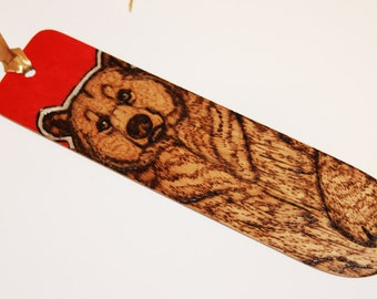 Grizzly Bear Pyrography Bookmark - Red - Woodburning