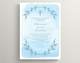 Christening Invitation \ Baptism Invitation \ Boy Invitation \ Printable Invitation \ Watercolour (CH10)