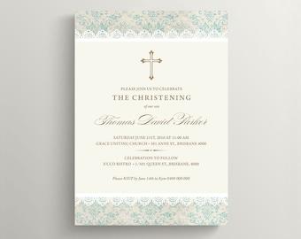 Christening Invitation \ Baptism Invitation \ Boy Invitation \ Printable Invitation \ Vintage Damask (CH01)