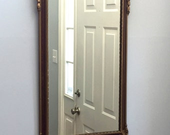 Gesso Gilt Wood Inlaid Wall Hanging Mirror - Laurel Leaf Swag Federal Style French Provincial Edwardian Entry Way Mirror Living Room Decor