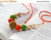 Christmas Sale Summer Fashion Teething Necklace - Nursing mom necklace - crochet sling necklace - orange green