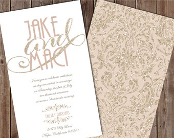 Taupe and Gold Wedding Invitation, Champagne Wedding Invitation, Glitter Wedding Invitation, Mauve Wedding Invitation, Neutral Wedding