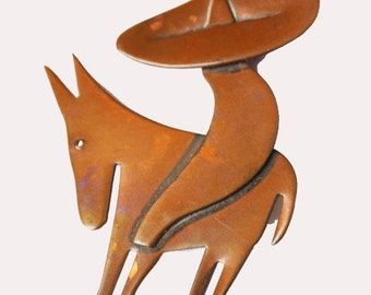 Copper  Mexican man Brooch -  Sombrero Donkey - Otto R. Bade - Orb signed  Handwought - Mid century Mod Pin