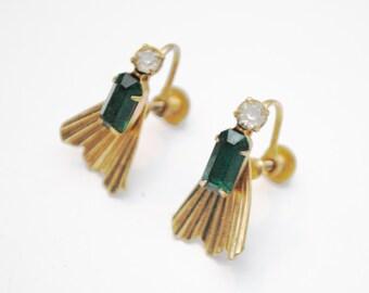 Emerald Green Earrings - Screw back earrings -  signed Vargas - Gold fan - Rhinestone-