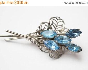 Blue Rhinestone Flower Brooch silver  floral spray  pin
