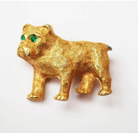 Dog brooch - Textured gold tone - green rhinestone - pit bull - bulldog-  figurine  pin