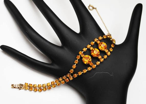Rhinestone Bracelet - Amber Orange Crystal -  safety chain Mid century