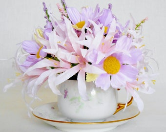 Artificial Flowers Teacup Arrangement, Light Lavender Daisies & Pink Fanciful Flowers, Artist Signed Floral Teacup, Silk Flower Arrangement,