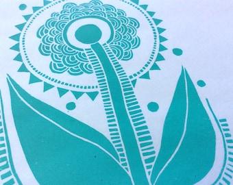 linocut - SUNFLOWER - 5x7 / printmaking / block print / turquoise / blue green / nature art / contemporary