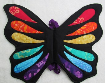 Rainbow butterfly wings costume, fairy wings, kids costumes, toddler pretend play, dress up, Halloween, handmade one of a kind quilted wings