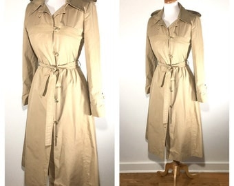 1970s Trench Coat Vintage Fit and Flare Women's Trench Princess Coat Size Small Mid Length Rain Jacket Full Skirt Jacket Tan Hooded Trench