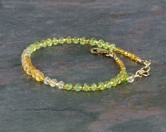 Micro Faceted Gemstone Bracelet w Peridot, Citrine, & Lemon Quartz, 14K Gold Filled Clasp, AAA gems, Stackable Bracelet, Multicolor Bracelet