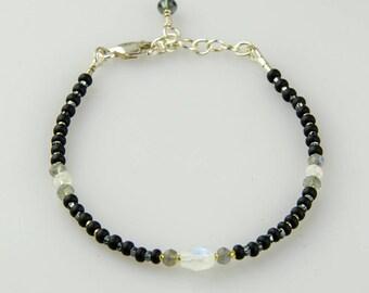 Adjustable Boho Bracelet, Delicate Black Bracelet w Moonstones & Labradorite, Blue Flash Multi Gemstone Bracelet,  925 Sterling Silver
