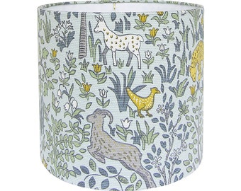 Custom Lamp Shade - Nursery Lampshade - Folkland by Robert Allen in Aquatint Blue - Forest Animals Lampshades - Fabric Lampshades