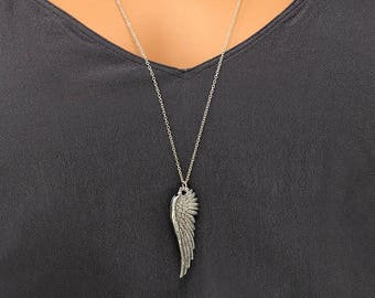 Angel Wing Necklace - Long Necklace -  Protection Necklace - Perfect Gift under 20 - Layering piece