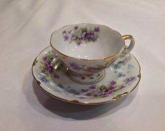 Gorgeous Vintage Souvenir Cup and Saucer with beautiful violets----Made in Japan