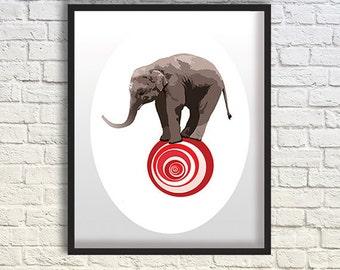 Elephant Art, Elephant Print, Elaphant Decor, Elephant & Red Ball, Wall Art, Elaphant Nursery /8x10 inches