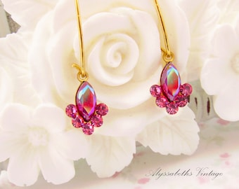 Petite Vintage AB Siam Red and Rose Pink Swarovski Rhinestone Drops Earring Dangles Charms -2