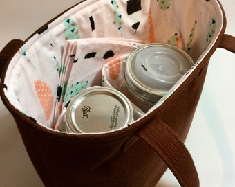 Custom 2-Jar bag - Pint Jars to Go Bag zero waste lunch or shopping tote carrier bag