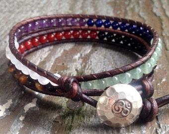 ON SALE seven chakra leather wrap bracelet sterling silver om moonstone amethyst lapis aventurine tiger eye carnelian tourmaline