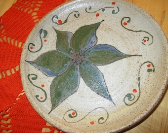 Vintage Salt Glaze Art Pottery Plate Handmade Art Pottery plate gorgeous rustic decor Signed Art pottery China Galore