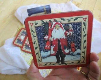 Vintage Pimpernel Victorian Santa Coasters Near Mint, Set of 6 Drink Mats, In Original Box  IOB  Christmas decor