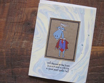 Well Dressed on the Town -- ORIGINAL hand-drawn card, blank inside, haiku, suminagashi (#NCC007)