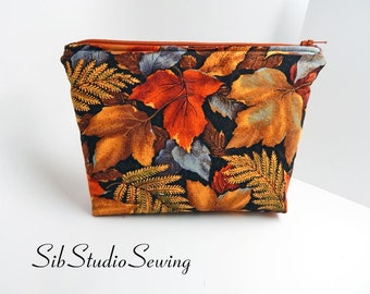 Leaves Cosmetic Bag, 9 x 6 x 2 inches, Interior Vinyl Lined, Zipper Closure, Padded, Autumn Makeup Bag,  Fall Leaves Make Up Bag