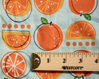 "Orange Print Vintage Cotton Fabric 41"" Wide Per Yard"
