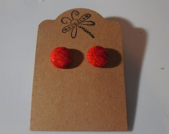 Red Floral Button Earrings