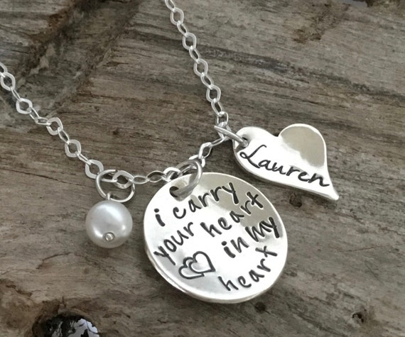 I Carry Your Heart Necklace / E E Cummings Poem Quote Jewelry / Romantic Gift For Wife, Girlfriend, Best Friend or Daughter / Literary Gift