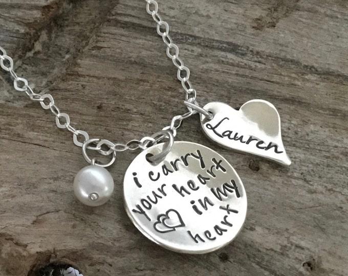 Personalized Memorial Necklace Memorial Jewelry Hand Stamped Memorial Necklace Personalized Remembrance Necklace Hand Stamped Jewelry
