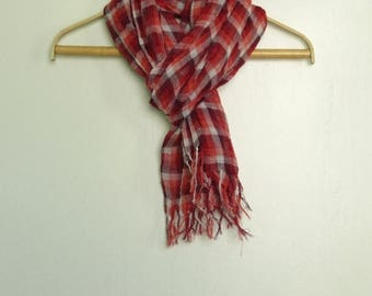 SALE Checkered linen scarf with knot fringe, Linen scarf, Pure linen scarf, Summer linen scarf