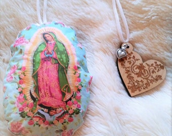 VIRGEN DE GUADALUPE Double Sided Scented Car Rear View Mirror Plushie Car Air Freshner Christmas Ornament