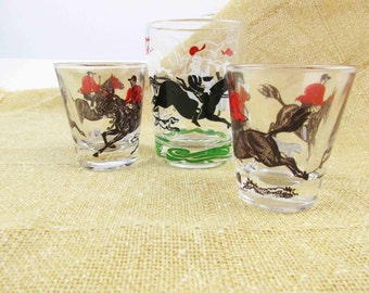 Two 'Hare and Hound' Shot Glasses - 1960s Barware - Red Jacket Riders on Brown Horses - Black and White Dogs Run - Jigger or Shot